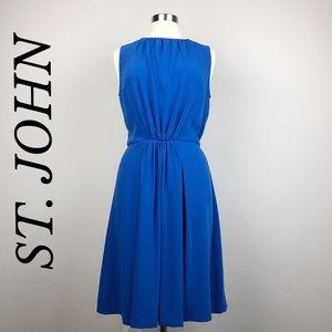 ST. JOHN BLUE SLEEVELESS DRESS SIZE 10